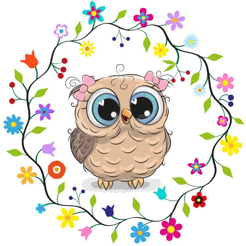 Menina da coruja em um quadro das flores ilustração do vetor