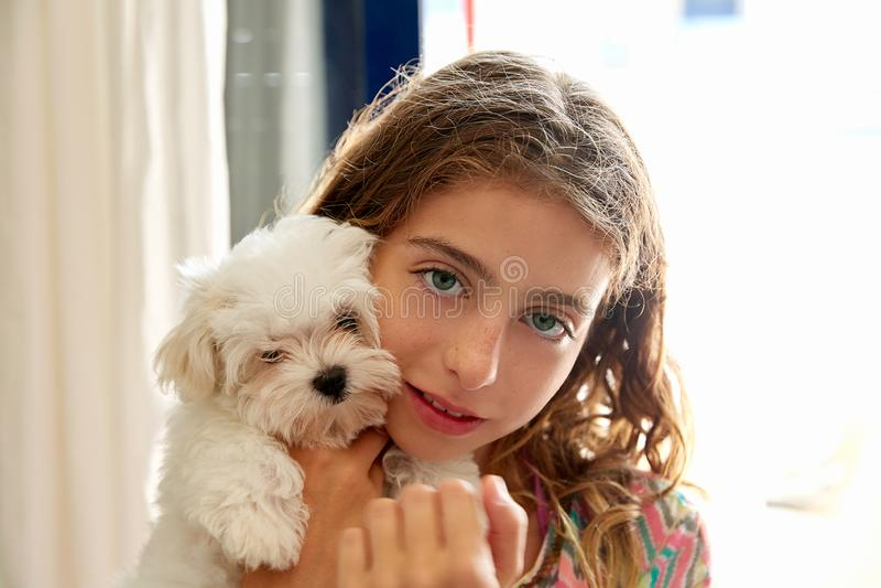 Menina da criança com maltichon branco do cão do cachorrinho imagem de stock