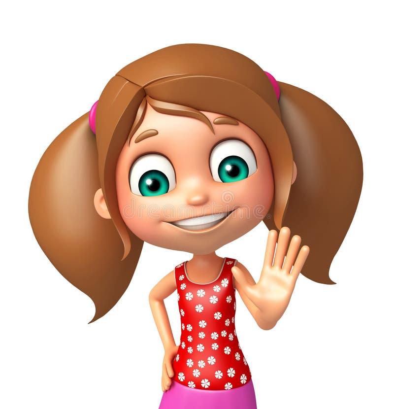 Menina da criança com pose da parada ilustração do vetor