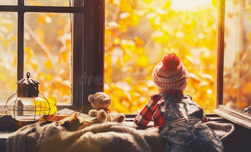 Menina da criança que olha através da janela aberta no outono da natureza fotografia de stock royalty free