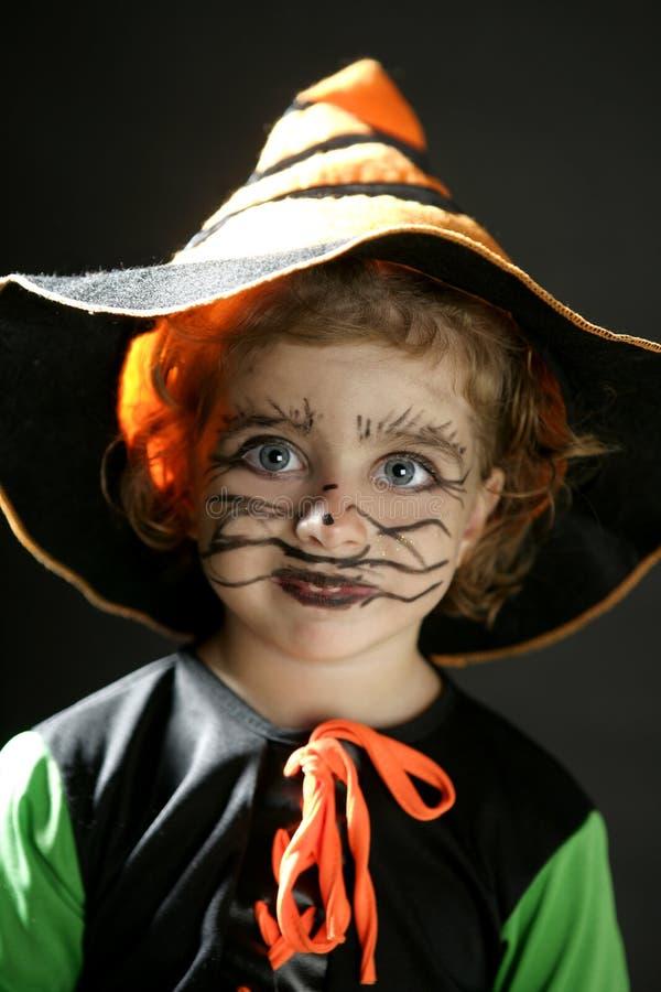 Menina da criança, traje de Halloween fotos de stock