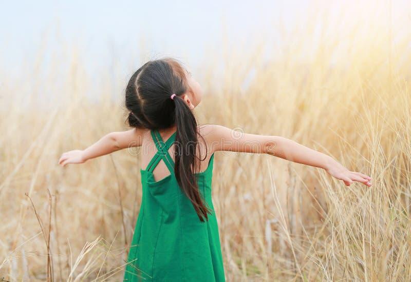 A menina da criança da vista traseira abriu suas mãos, relaxa no campo do prado fotografia de stock