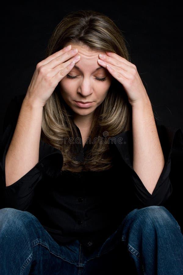 Menina da dor de cabeça fotos de stock