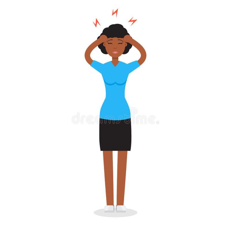 Menina da dor de cabeça Conceito da hipertensão ilustração royalty free