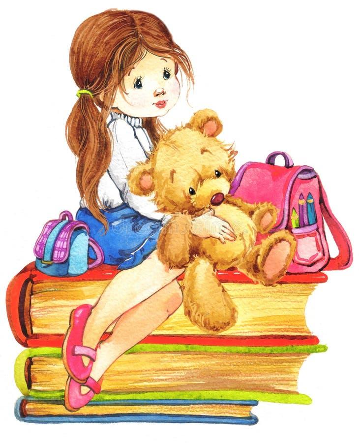 Menina da escola ilustração do vetor
