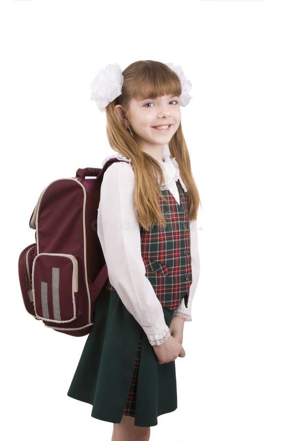 Menina da escola com schoolbag. Instrução. fotos de stock royalty free