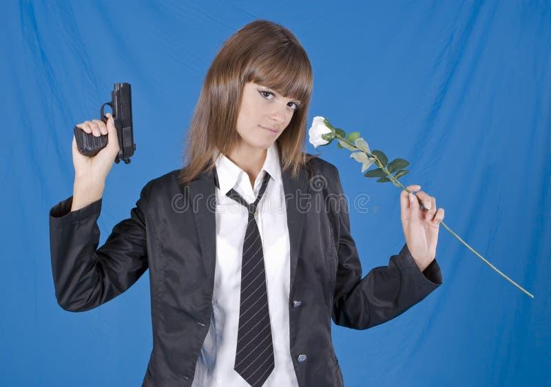Menina da escola do perigo imagem de stock