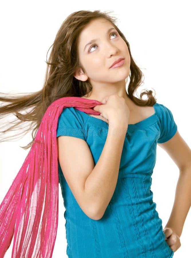 Menina da escola do Preteen com lenço imagens de stock royalty free