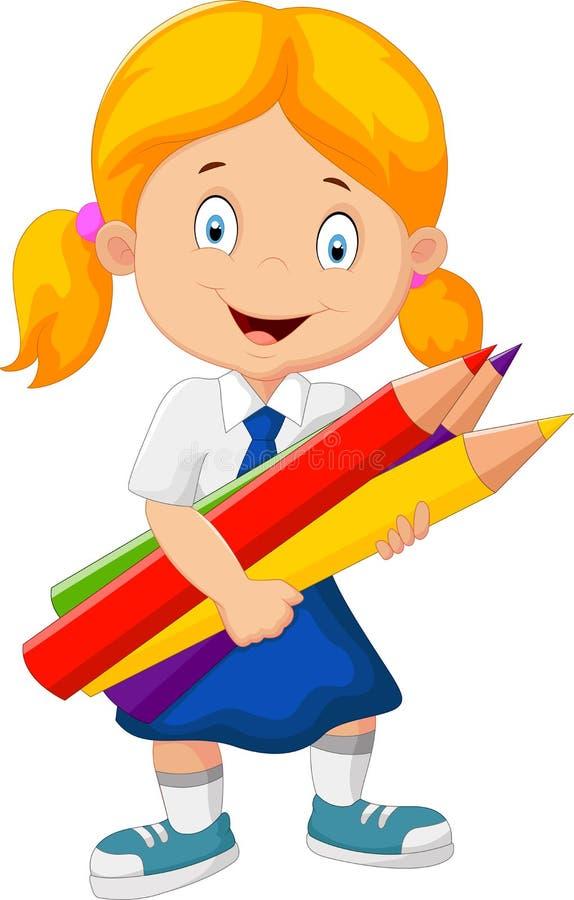 Menina da escola dos desenhos animados que guarda lápis ilustração do vetor