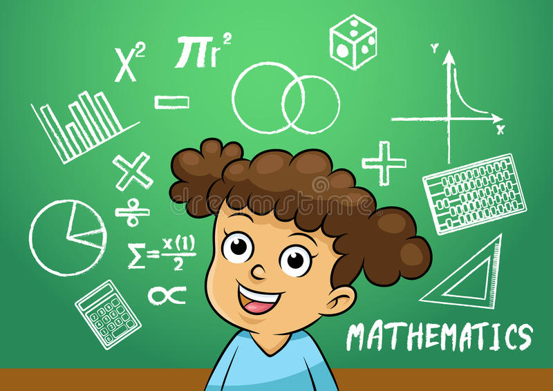 A menina da escola escreve o objeto do sinal da matemática no quadro-negro da escola ilustração royalty free
