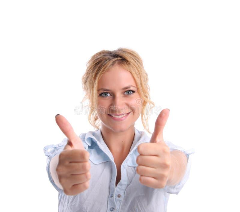 A menina da felicidade mostra ESTÁ BEM 2 imagem de stock royalty free