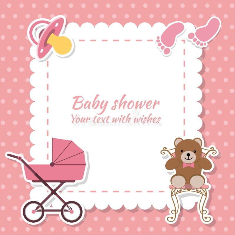 Menina da festa do bebê, cartão do convite Lugar para o texto Carro do cumprimento ilustração royalty free