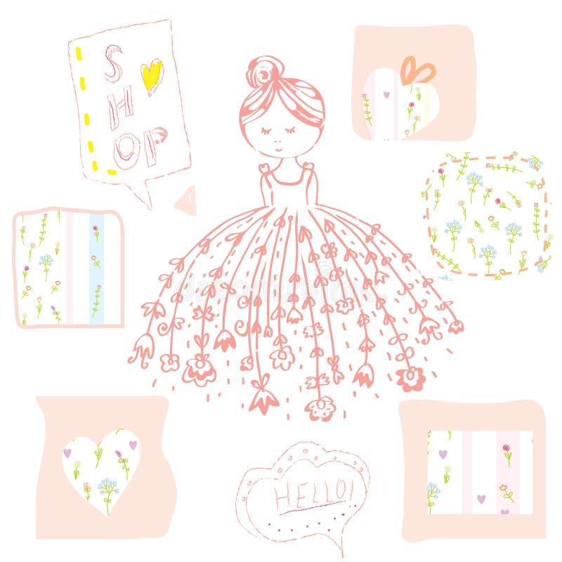 Menina da forma com as flores e os quadros ajustados ilustração stock
