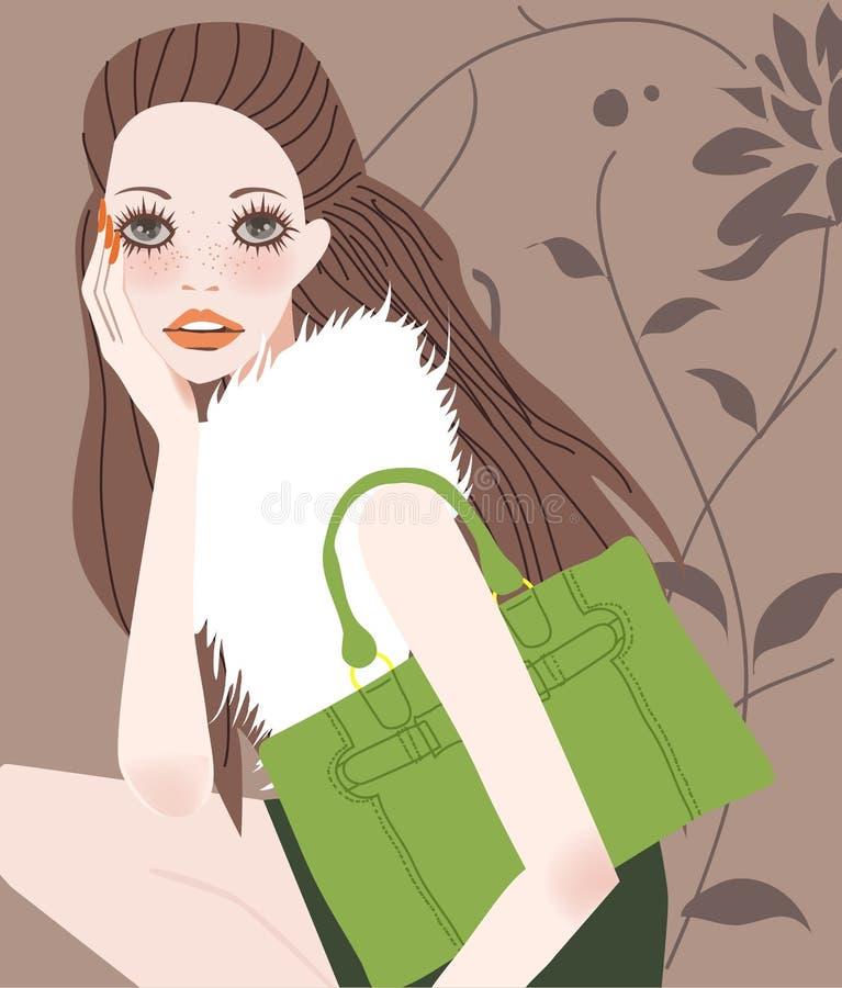 Menina da forma com saco ilustração royalty free