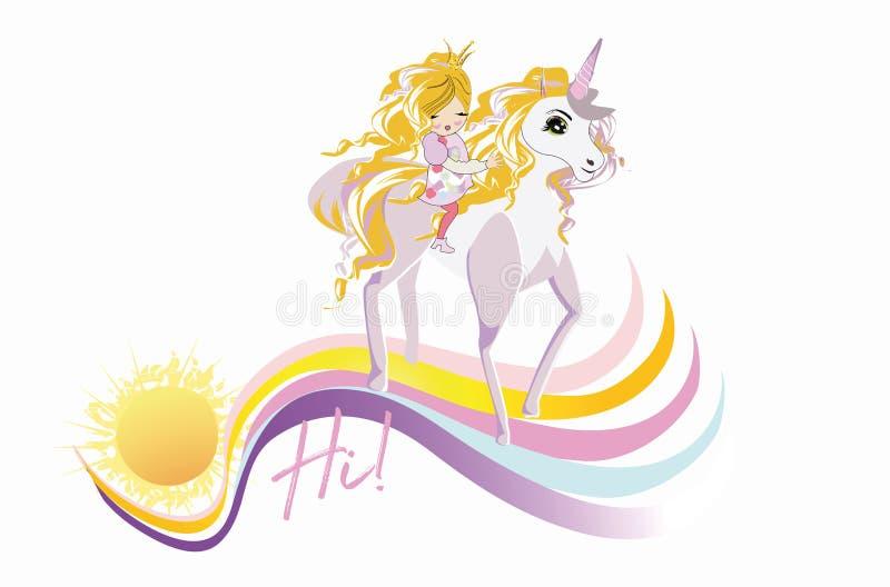 Menina da forma dos desenhos animados com uma curva e seu unicórnio mágico do amigo ilustração stock