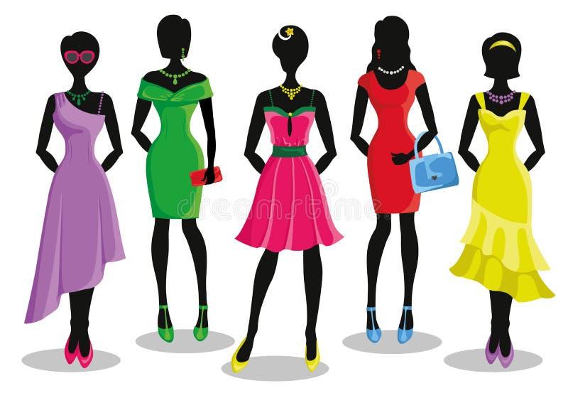 Menina da forma em vestidos de partido coloridos Cartaz da venda ilustração do vetor