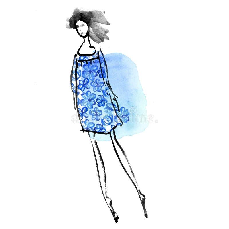 Menina da forma no conceito azul do vestido do prado ilustração royalty free