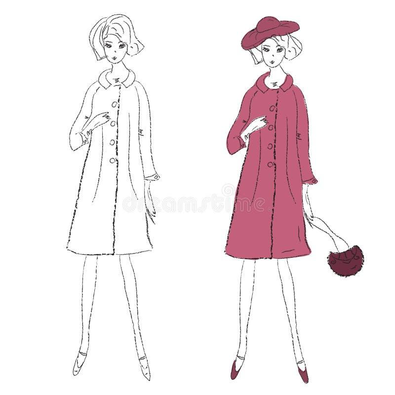 Menina da forma no revestimento do inverno ilustração royalty free