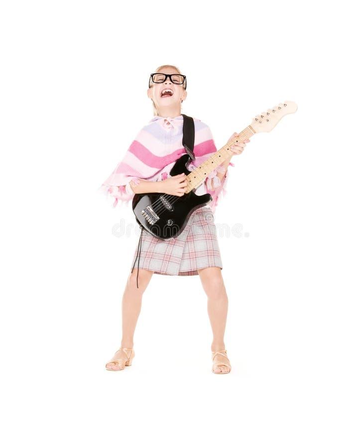 Menina da guitarra fotografia de stock