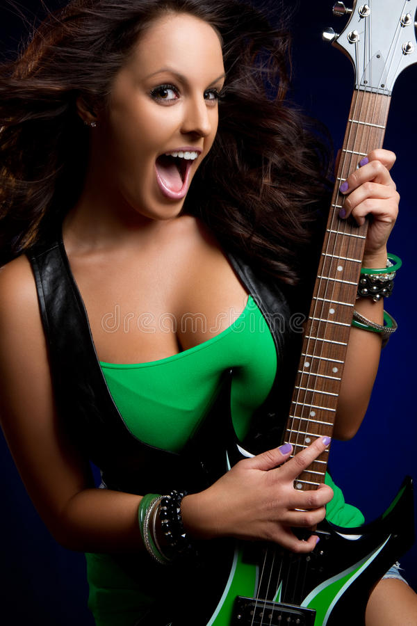 Menina da guitarra elétrica imagem de stock royalty free