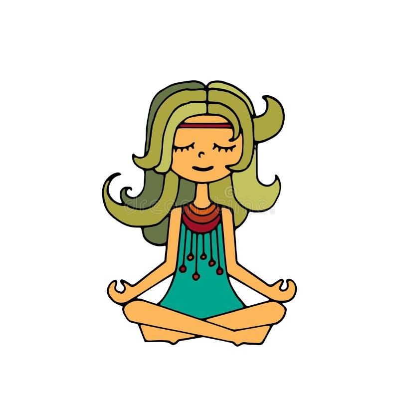 Menina da hippie, meditação ilustração royalty free