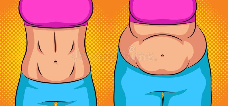 Menina da ilustração do estilo do pop art da cor antes e depois da perda de peso Estômago liso contra a barriga gorda Conceito ilustração royalty free