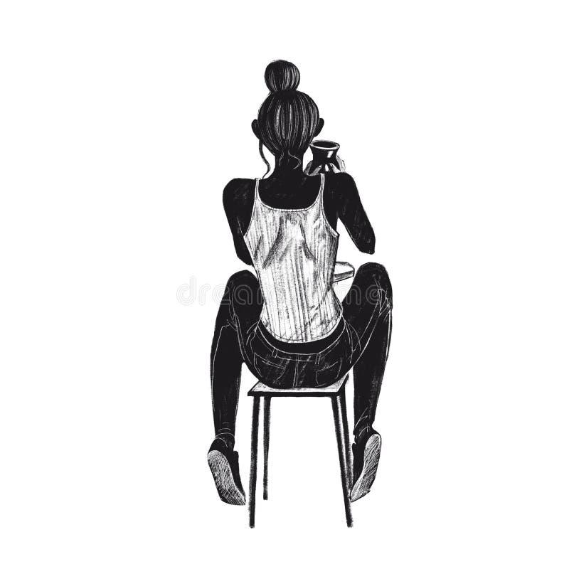 Menina da ilustração da quadriculação de Digitas no t-shirt na roda da cerâmica que faz um vaso cor preta em objetos isolados no  ilustração royalty free