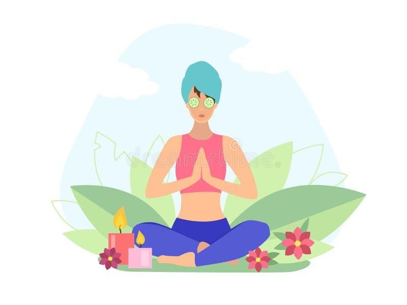 Menina da ioga com o asana praticando da ioga da m?scara facial ilustração do vetor