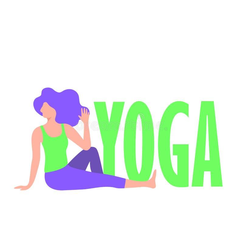 Menina da ioga dos desenhos animados Jovens mulheres na pose do asana caráter da aptidão ilustração do vetor
