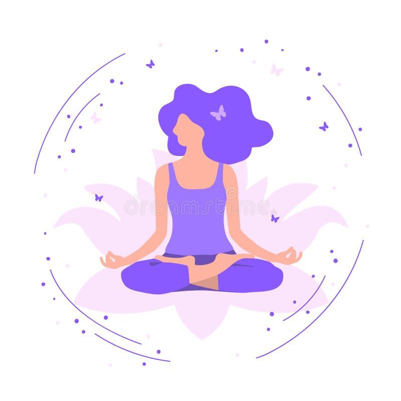 Menina da ioga na posição de lótus Jovem mulher que medita, projeto liso Ilustração do vetor ilustração royalty free