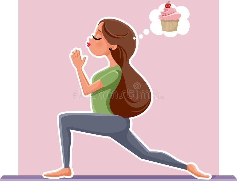 Menina da ioga que pensa da sobremesa do queque ao exercitar ilustração do vetor