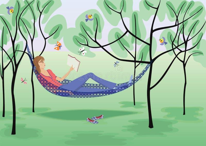 Menina da leitura ilustração royalty free