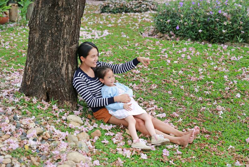 Menina da m?e feliz e da crian?a pequena que encontra-se na grama verde com a flor do rosa da queda no jardim exterior Mamã asiát imagens de stock