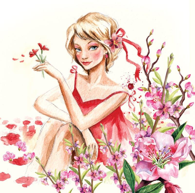 Download Menina da mola ilustração stock. Ilustração de floral - 16851882