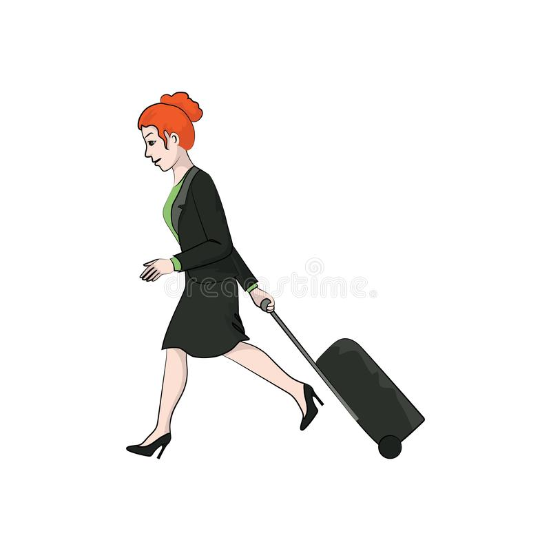 A menina da mulher de negócios, mulher anda com uma mala de viagem do curso Cor do vetor ilustração stock