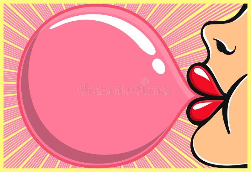 Menina da pastilha elástica com o bubblegum de sopro do batom vermelho ilustração royalty free