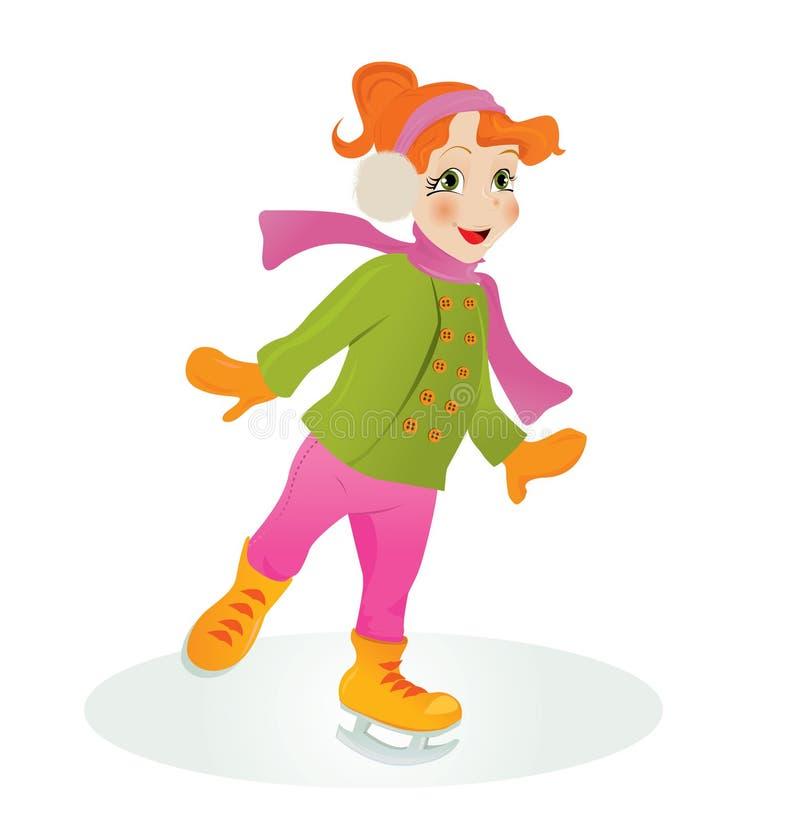 Menina da patinagem de gelo. ilustração do vetor