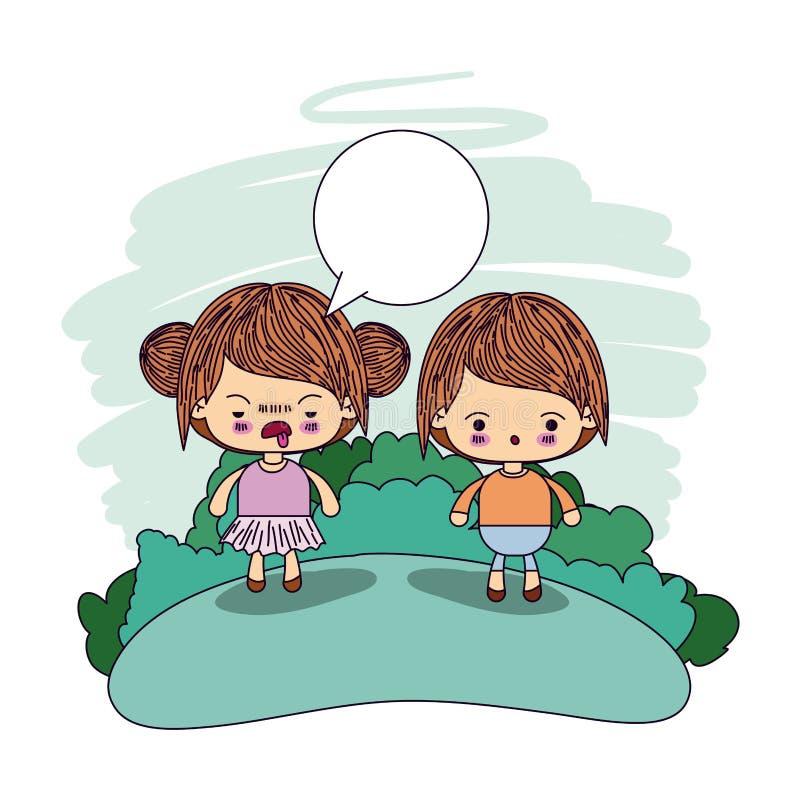 A menina da piscadela do kawaii dos pares da imagem da cor recolheu o cabelo com caixa de diálogo e o menino surpreendido ilustração do vetor