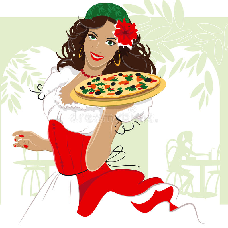 Menina da pizza ilustração stock