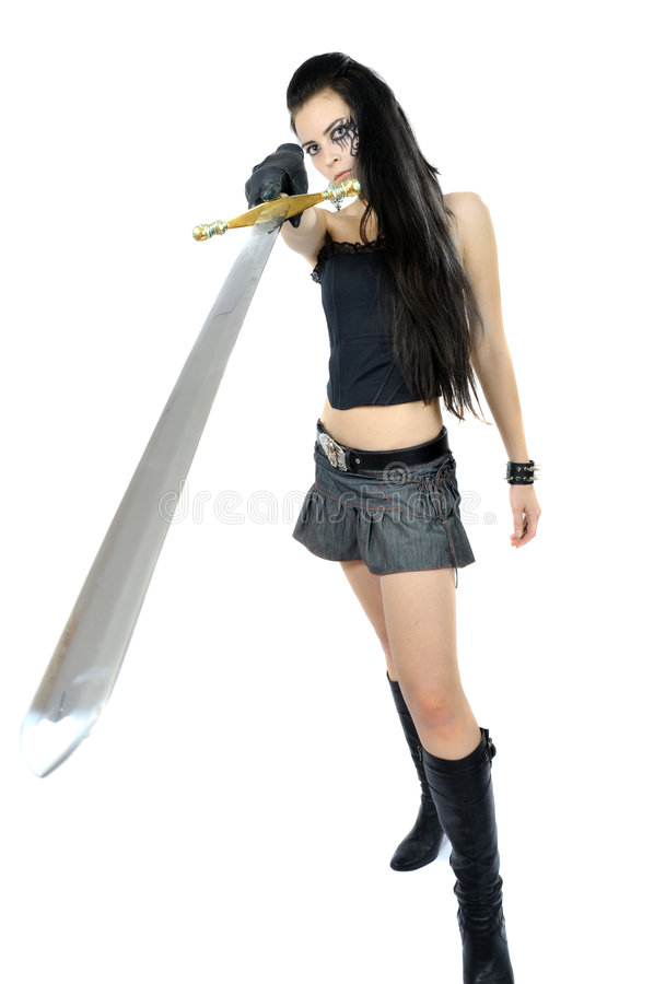 Menina da rocha com espada da fantasia foto de stock royalty free