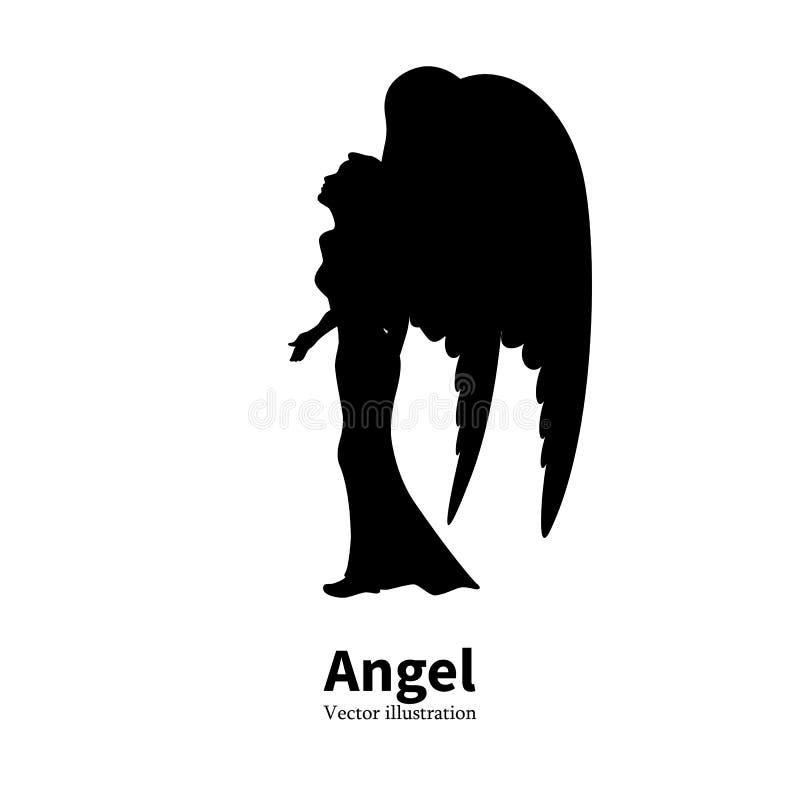 Menina da silhueta do vetor com rezar das asas do anjo ilustração stock