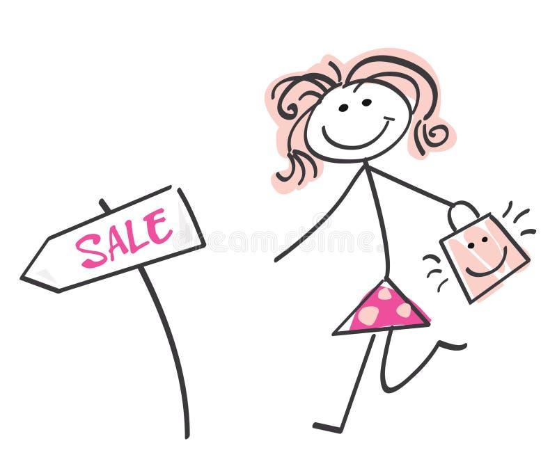 Download Menina da venda do Doodle ilustração do vetor. Ilustração de orçamento - 10054377
