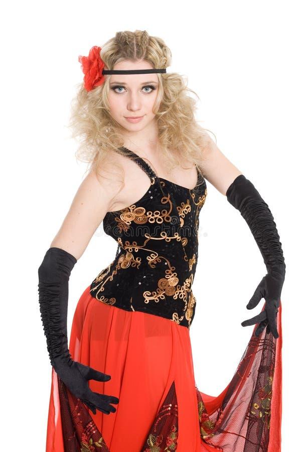 A menina dança a dança do espanhol. imagem de stock