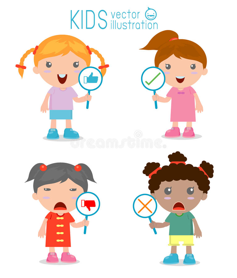 A menina das crianças tem uma placa do sinal responder a correto ou a incorreto ilustração royalty free