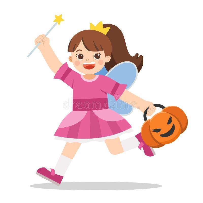 Menina de Angel com roupa de abóbora para Trick ou Treat ilustração royalty free