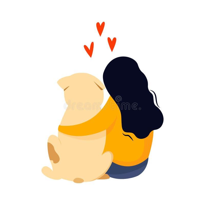 Menina de assento para abraçar seu cão Conceito da amizade ilustração royalty free