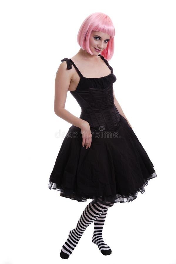 Menina de cabelo cor-de-rosa do goth imagem de stock royalty free