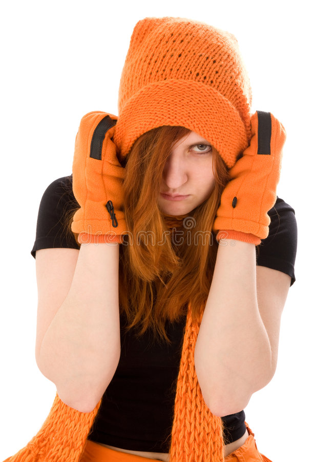 Menina de cabelo vermelha no chapéu alaranjado imagens de stock royalty free