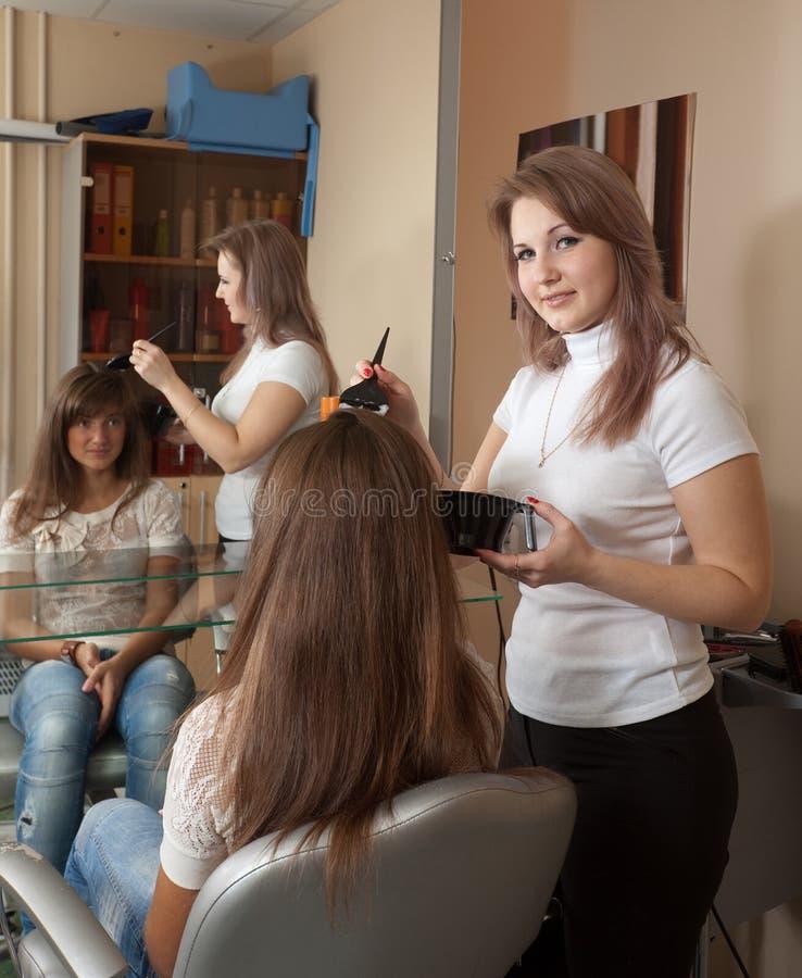 Menina de cabelos compridos da tintura do cabeleireiro fotografia de stock