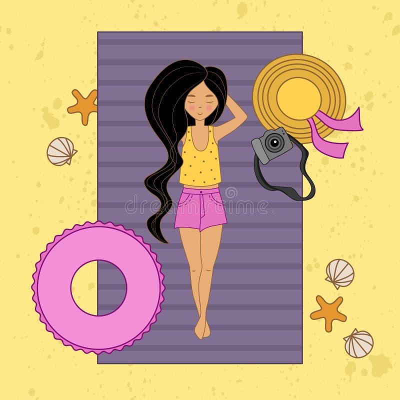Menina de cabelos compridos na praia ilustração do vetor